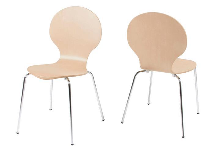 stuhl marcus 4er set holzschale ahorn gestell verchromt. Black Bedroom Furniture Sets. Home Design Ideas