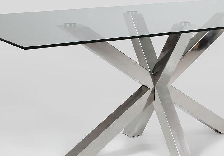 esstisch star esszimmertisch mit glas und stahl 200x100 cm. Black Bedroom Furniture Sets. Home Design Ideas