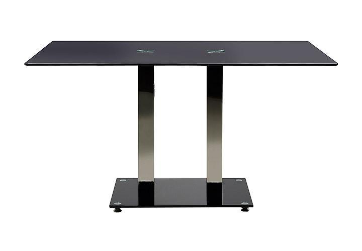 esstisch elkin schwarz glas stahl 140 cm. Black Bedroom Furniture Sets. Home Design Ideas