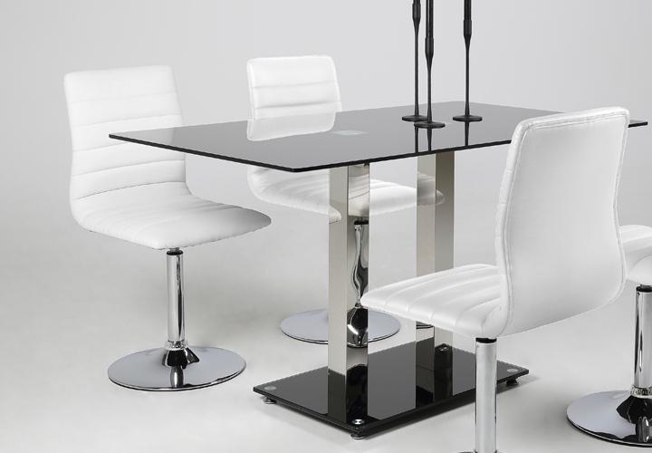 stuhl piper 2er set esszimmerstuhl in wei mit trompetenfu chrom ebay. Black Bedroom Furniture Sets. Home Design Ideas