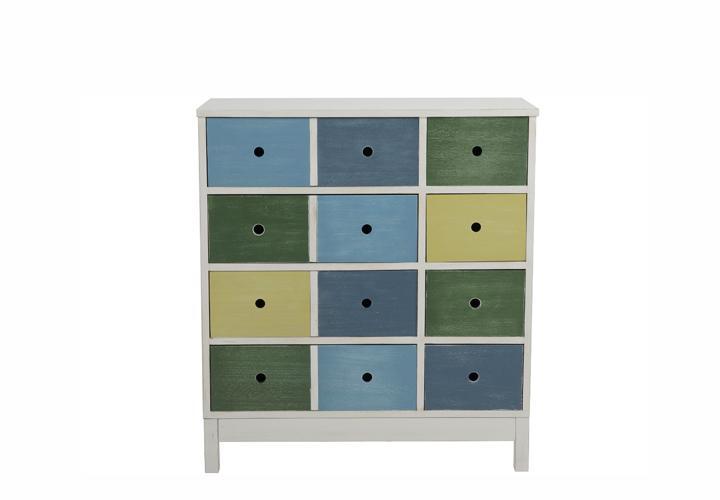 kommode octopus mit 8 schubk sten wei blau gr n gelb paulownia holz ebay. Black Bedroom Furniture Sets. Home Design Ideas