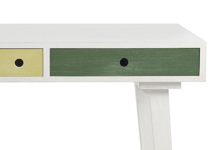 Schreibtisch OCTOPUS 4 Schubkästen mehrfarbig Weiß Blau Grün