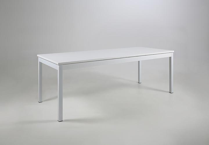 Esstisch MOSEL Weiß Lack und Metall ausziehbar 215-315