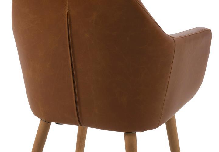 Stuhl nora armstuhl in vintage braun cognac gestell eiche for Design stuhl nora
