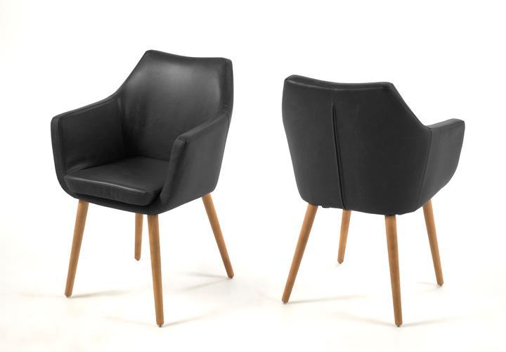 stuhl nora esszimmer armlehnenstuhl in vintage schwarz gestell eiche ge lt ebay. Black Bedroom Furniture Sets. Home Design Ideas