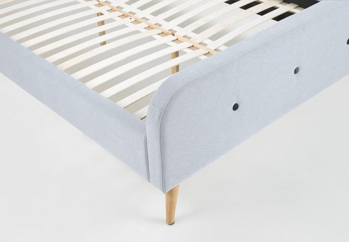 Bett AGNES Bettgestell Bezug Stoff grau 180×200 cm