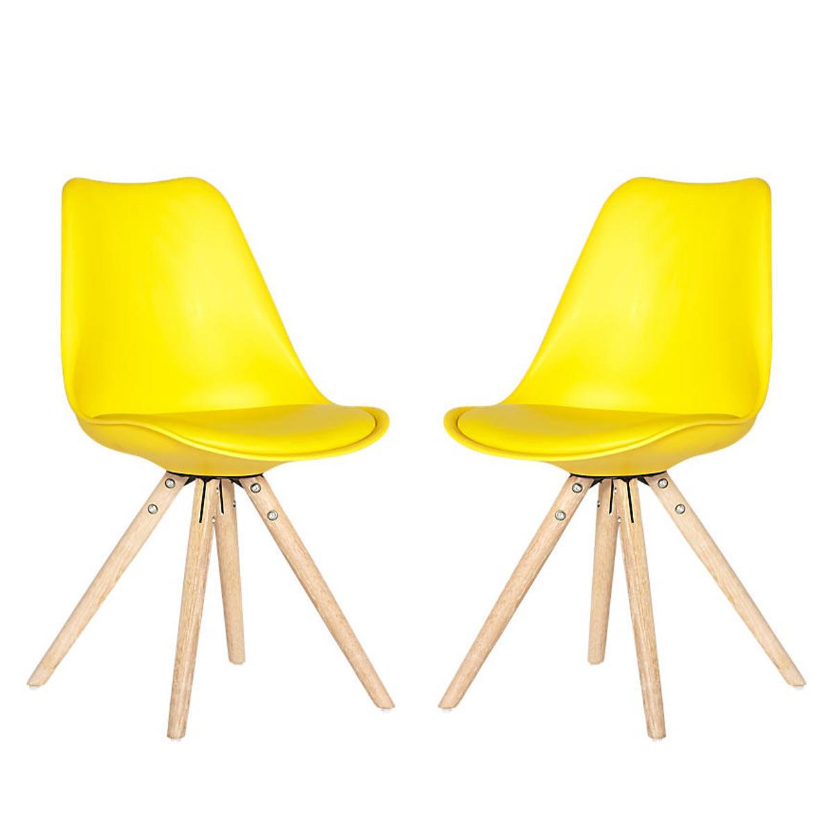 Das Bild Wird Geladen Stuhl Clara 2er Set Schalenstuhl Gelb Skandinavisches  Design