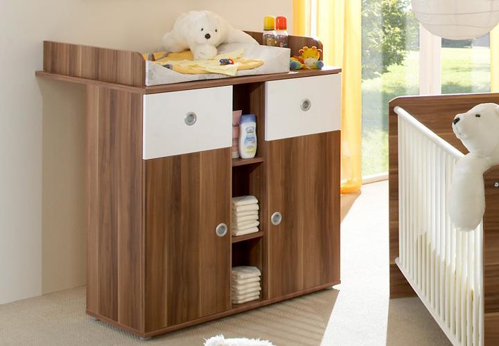 wickelkommode wiki babyzimmer kommode in wei und walnuss ebay. Black Bedroom Furniture Sets. Home Design Ideas