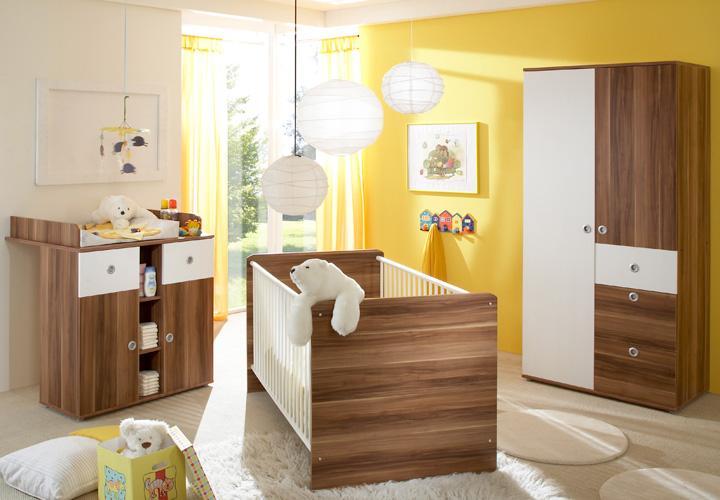 Babyzimmer WIKI dreiteilig in Walnuss und weiß Dekor