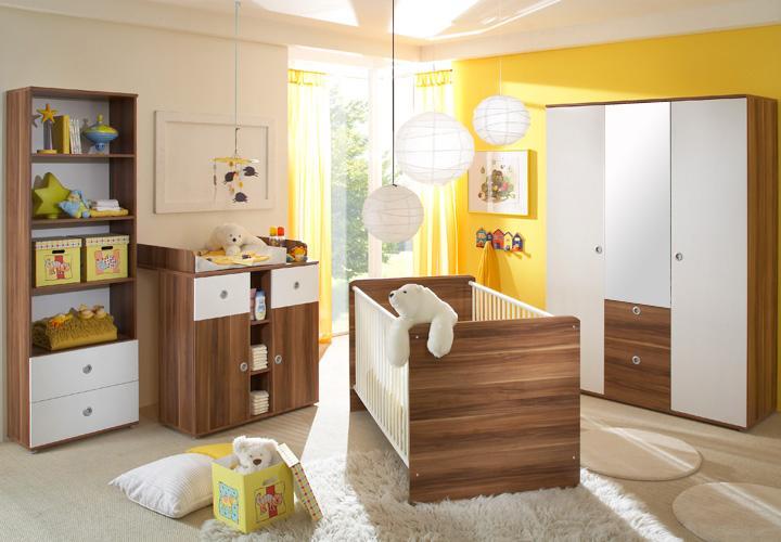 babyzimmer wiki 4 teilig babybett wickelkommode kleiderschrank in wei walnuss ebay. Black Bedroom Furniture Sets. Home Design Ideas