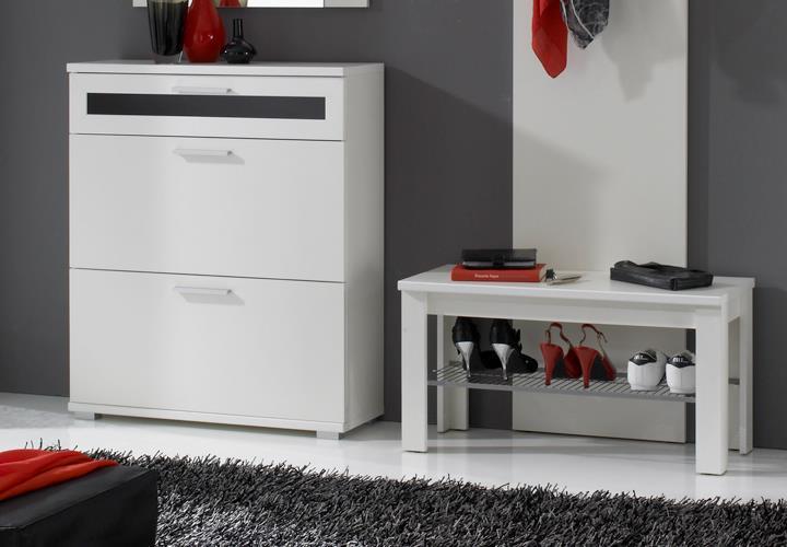 garderobe solido set in wei mit schuhschrank paneel spiegel. Black Bedroom Furniture Sets. Home Design Ideas