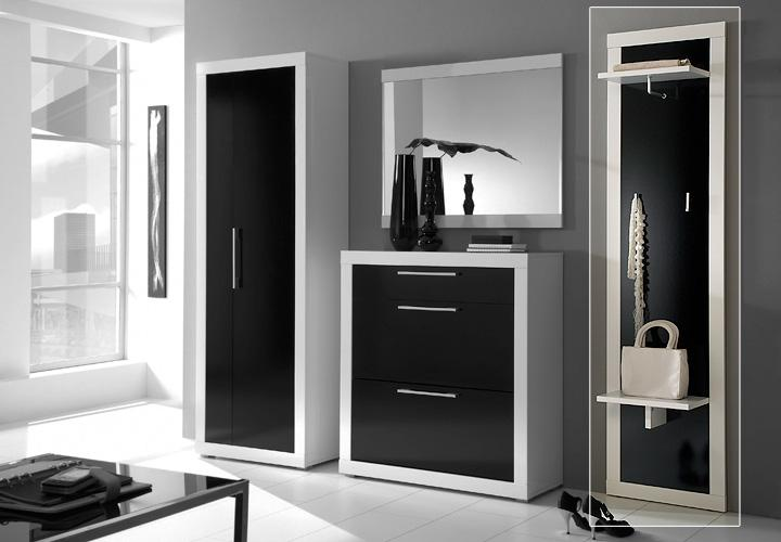 beco garderobenpaneel wei schwarz hochglanz. Black Bedroom Furniture Sets. Home Design Ideas