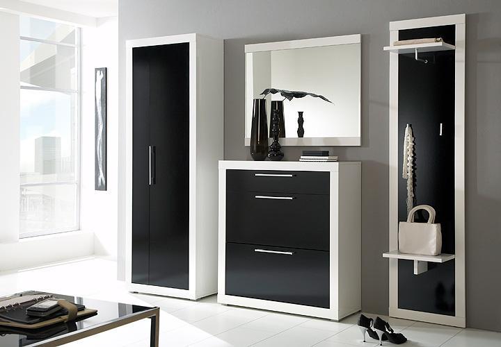 Beco garderobenpaneel wei schwarz hochglanz for Garderobenpaneel schwarz hochglanz