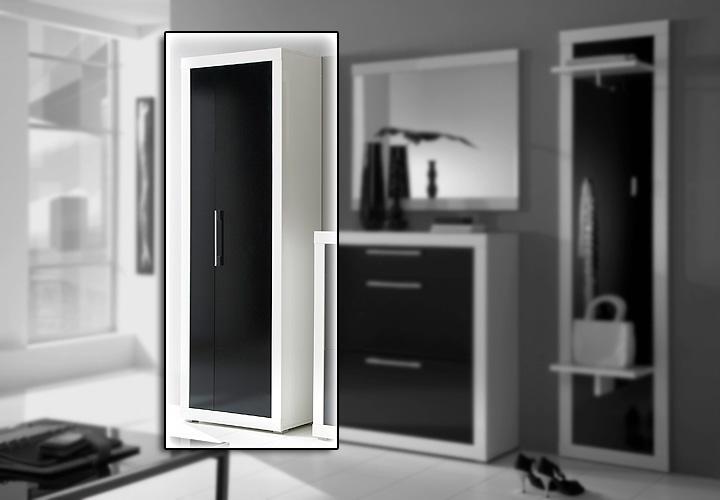 Beco garderobenschrank wei schwarz hochglanz for Garderobenschrank schwarz