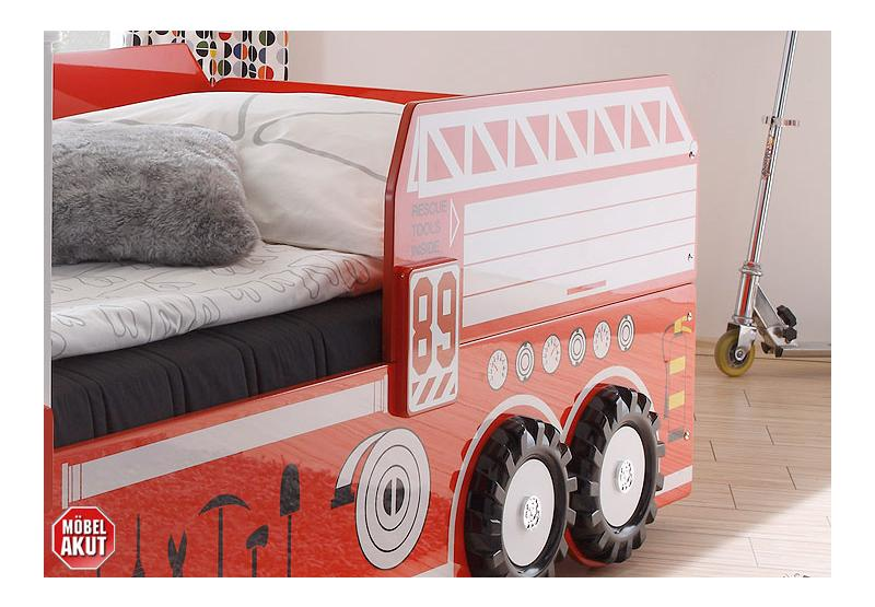 Feuerwehrautobett FIRE Autobett Kinderbett Bett Glanzlack