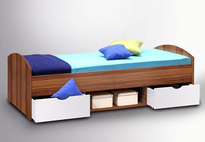 bett nulo in walnuss und wei mit bettk sten 90x200 cm. Black Bedroom Furniture Sets. Home Design Ideas