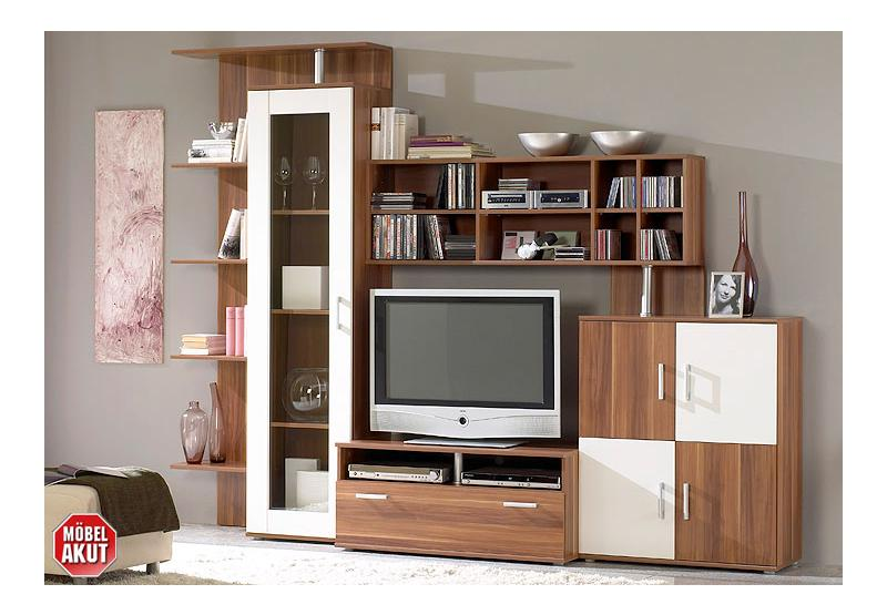 wohnwand alfeo anbauwand wohnzimmer in walnuss wei neu ebay. Black Bedroom Furniture Sets. Home Design Ideas