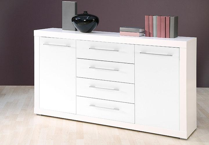 sideboard cabo kommode in wei glanz dekor 155x88 cm. Black Bedroom Furniture Sets. Home Design Ideas