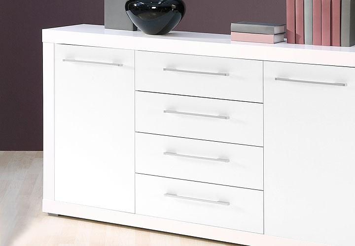 sideboard cabo kommode in wei glanz dekor 155x88 cm. Black Bedroom Furniture Sets. Home Design Ideas