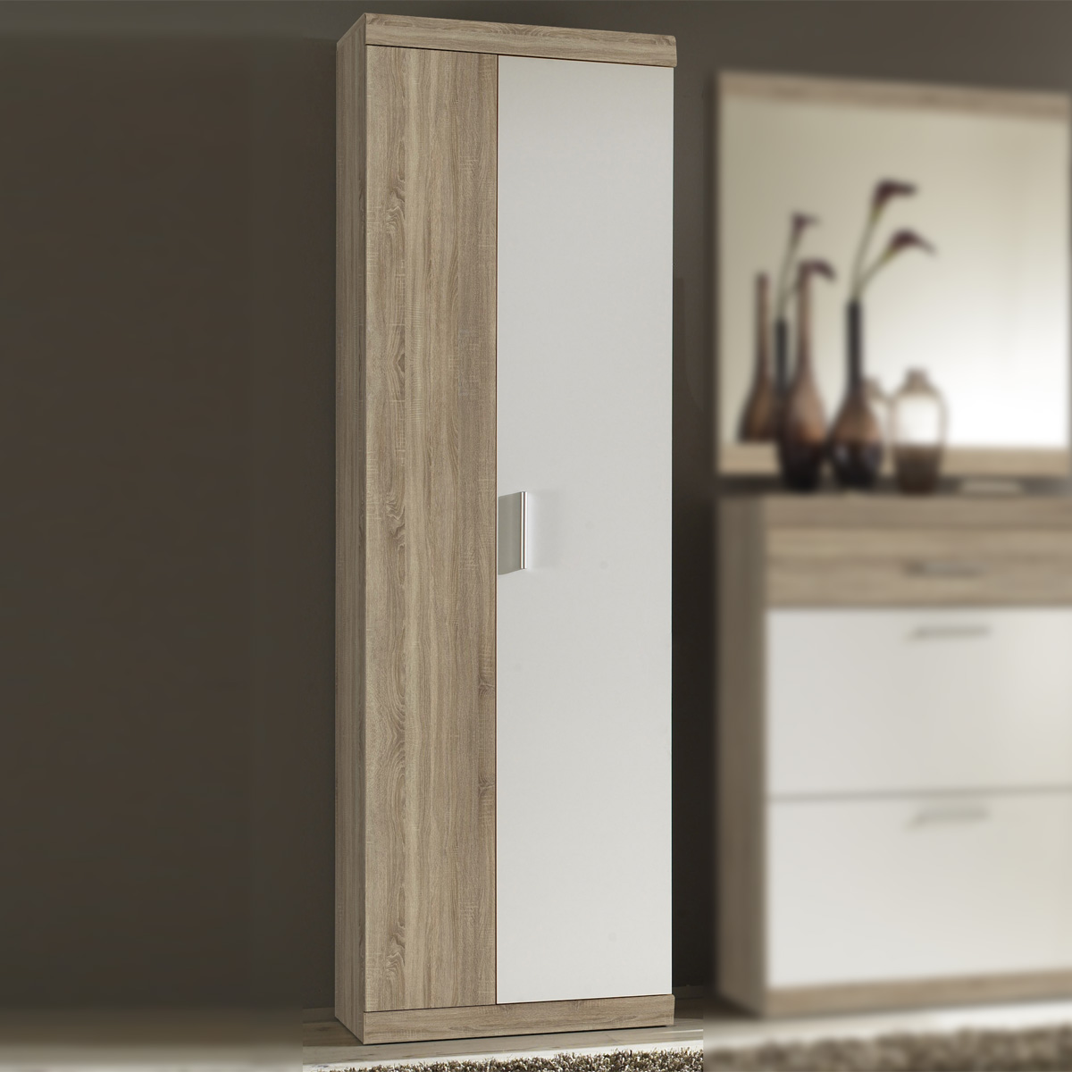 garderobenschrank imperial 2 flur schrank in eiche sonoma und wei 60 cm breit ebay. Black Bedroom Furniture Sets. Home Design Ideas