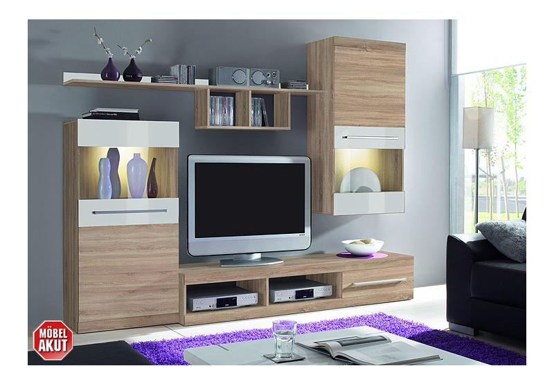abano wohnwand sonoma eiche s gerau wei hochglanz. Black Bedroom Furniture Sets. Home Design Ideas