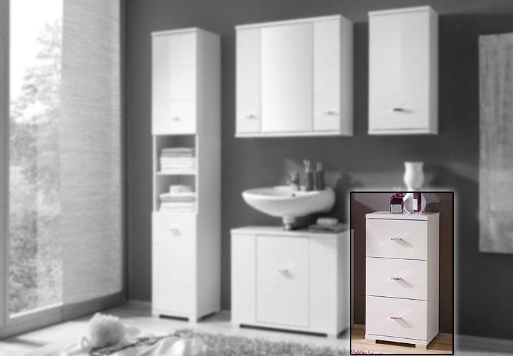 kommode mogo badezimmerschrank in wei hochglanz. Black Bedroom Furniture Sets. Home Design Ideas