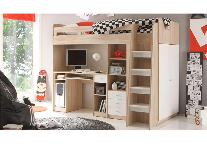 hochbett unit etagenbett kinderbett bett sonoma eiche. Black Bedroom Furniture Sets. Home Design Ideas