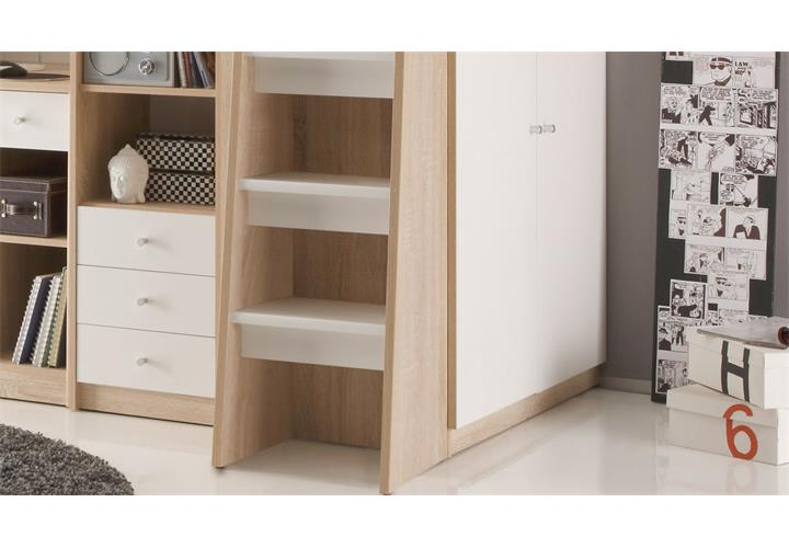 hochbett unit sonoma eiche s gerau und wei 90x200. Black Bedroom Furniture Sets. Home Design Ideas