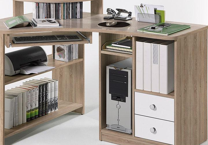 eckschreibtisch lectra computertisch sonoma eiche in wei. Black Bedroom Furniture Sets. Home Design Ideas
