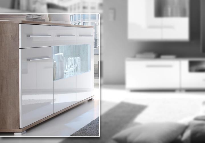 sideboard sun wei hochglanz monument oak mit beleuchtung. Black Bedroom Furniture Sets. Home Design Ideas
