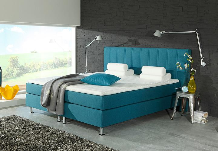 boxspringbett ohio petrol inkl topper 180x200 cm. Black Bedroom Furniture Sets. Home Design Ideas