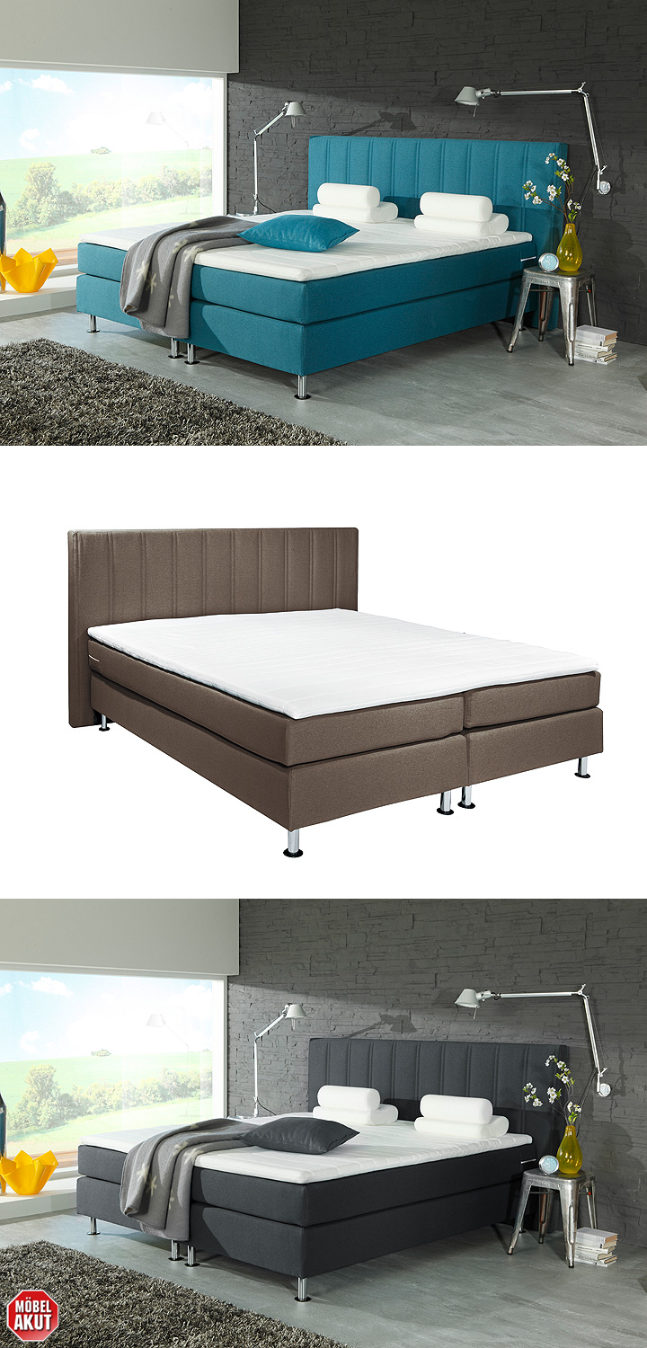 boxspringbett ohio anthrazit inkl topper 180x200 cm. Black Bedroom Furniture Sets. Home Design Ideas