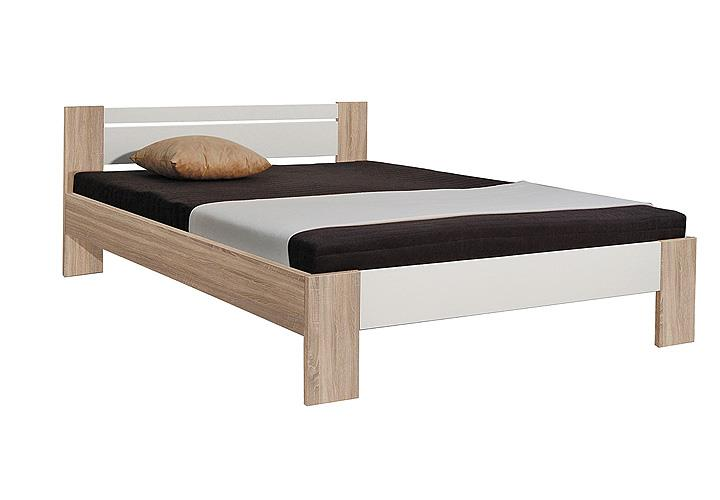 vega bett eiche sonoma wei 140x200 inkl rollrost matratze. Black Bedroom Furniture Sets. Home Design Ideas