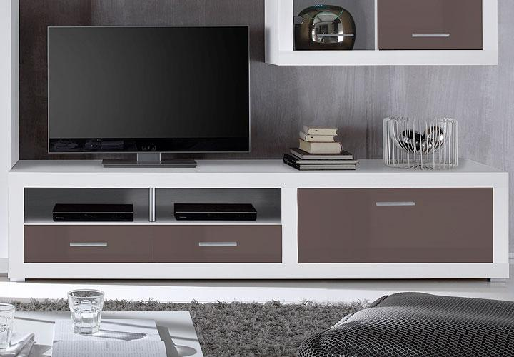 wohnwand cancan lux glas braun wei inkl led. Black Bedroom Furniture Sets. Home Design Ideas