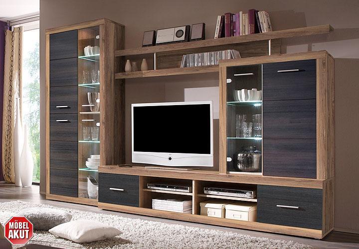 wohnwand nussbaum satin touchwood. Black Bedroom Furniture Sets. Home Design Ideas