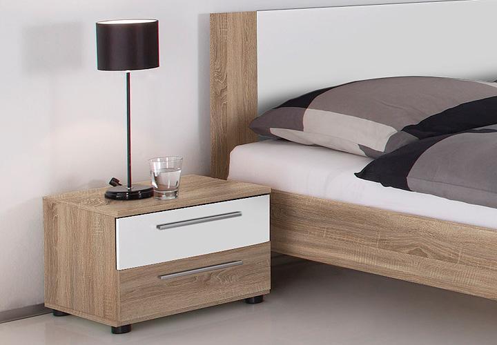 bettanlage martina sonoma eiche s gerau wei 180x200 cm. Black Bedroom Furniture Sets. Home Design Ideas