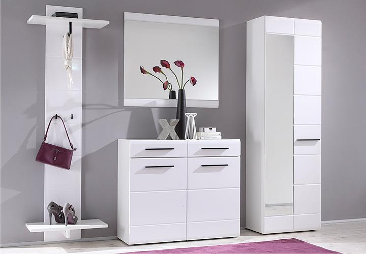 garderobe derby wei front hochglanz 4 teilig. Black Bedroom Furniture Sets. Home Design Ideas