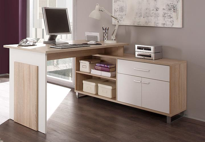 schreibtisch manager manga pc tisch computertisch sonoma eiche wei ebay. Black Bedroom Furniture Sets. Home Design Ideas
