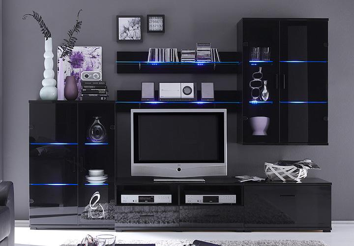 wohnwand comet 1 schwarz lackierte glasfront inkl led. Black Bedroom Furniture Sets. Home Design Ideas