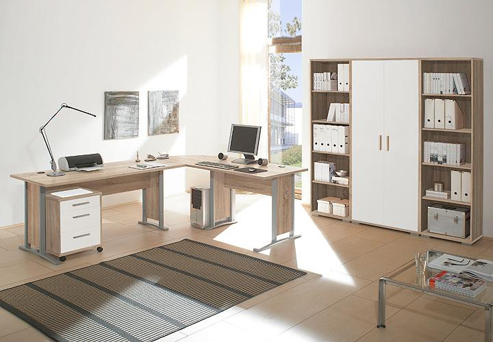 b ro set office line biz sonoma eiche und wei. Black Bedroom Furniture Sets. Home Design Ideas
