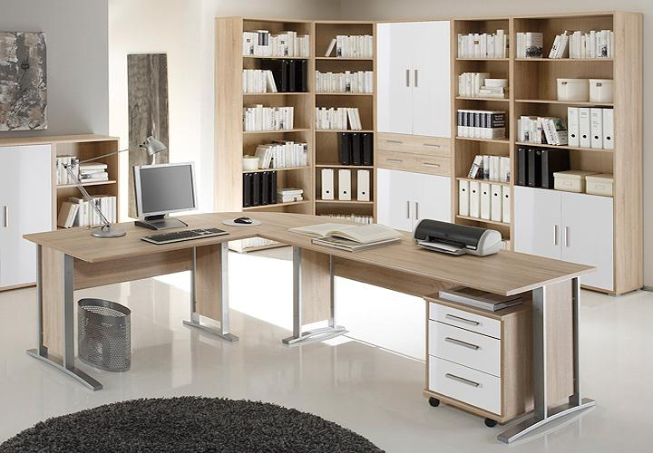 b ro set 2 office line biz sonoma eiche und wei. Black Bedroom Furniture Sets. Home Design Ideas