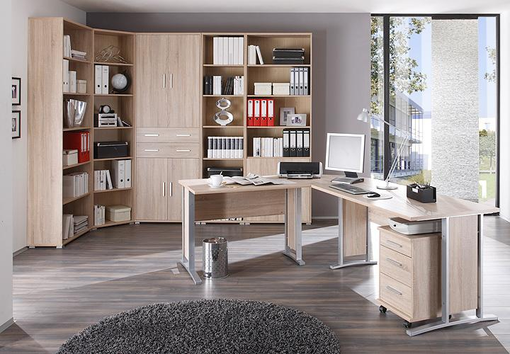 b ro set 2 office line biz schreibtisch regal sonoma eiche. Black Bedroom Furniture Sets. Home Design Ideas