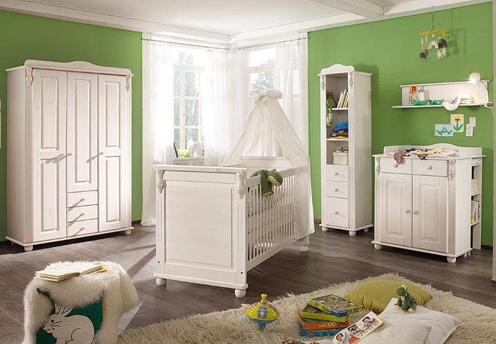babyzimmer set lara ii kiefer massiv wei wachs 3tlg. Black Bedroom Furniture Sets. Home Design Ideas