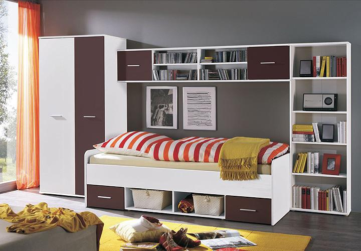 jugendzimmer set nadal wei brombeer 4 tlg. Black Bedroom Furniture Sets. Home Design Ideas