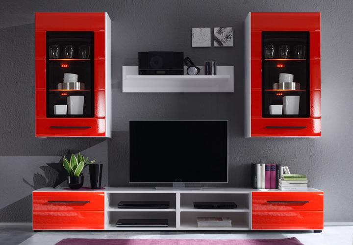 wohnwand puma 2 wei mit rillenfront in hochglanz rot. Black Bedroom Furniture Sets. Home Design Ideas