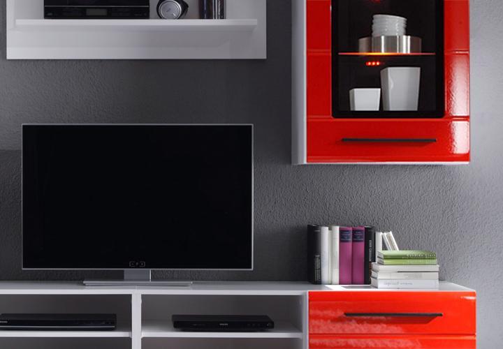Wohnwand puma 2 wei mit rillenfront in hochglanz rot for Wohnwand rot