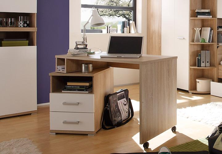 schreibtisch corner pc tisch computertisch schwenkbar sonoma eiche wei ebay. Black Bedroom Furniture Sets. Home Design Ideas