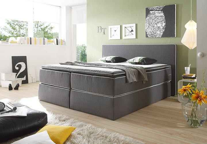 boxspringbett key west anthrazit inkl topper 180x200. Black Bedroom Furniture Sets. Home Design Ideas