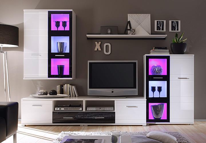wohnwand ultra 1 in hochglanz wei und schwarz inkl rgb led. Black Bedroom Furniture Sets. Home Design Ideas