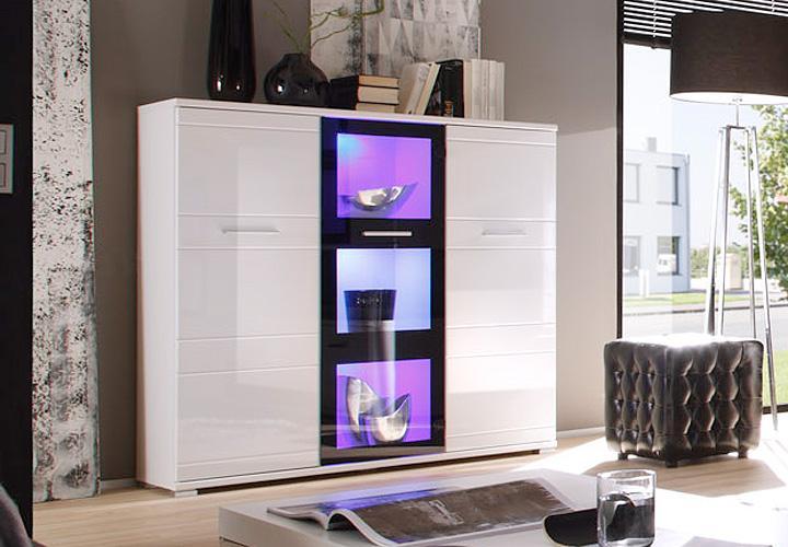 highboard ultra 1 hochglanz wei und schwarz inkl rgb led. Black Bedroom Furniture Sets. Home Design Ideas